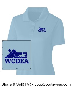 Baby Blue Polo with Dark Blue Logo Design Zoom