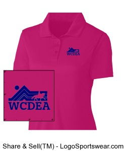 Hot Pink Polo with Dark Blue Logo Design Zoom
