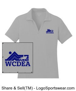 Silver Polo with Blue Logo Design Zoom